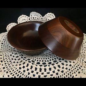 Vintage Vermillion Walnut Bowls-Set of 2